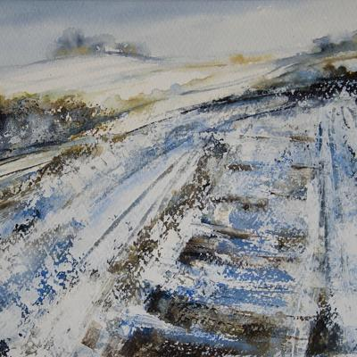 SOLD - Snowfall at The Dig, Earth Trust (in the Shadows of Wittenham Clumps) Mixed Media Painting, Image, 36 x 27cm, Framed in White Wood 50 x 41cm, £175 SOLD.  High quality giclee prints on pure cotton rag paper available in the same dimensions and framing as the original painting - £95