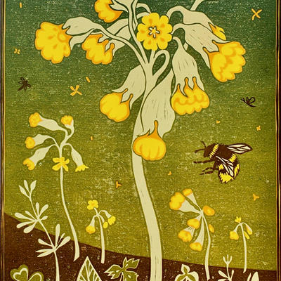 Covid Cowslips: Reduction Linocut
