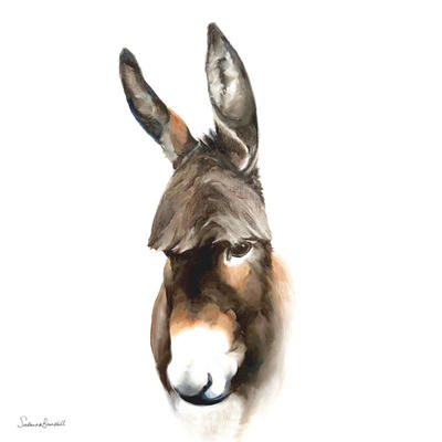 Donkeys on the HIll 3:  Jimmy.  Oil on wood block.  40x20x3.5cms - not square  ORIGINAL SOLD prints available