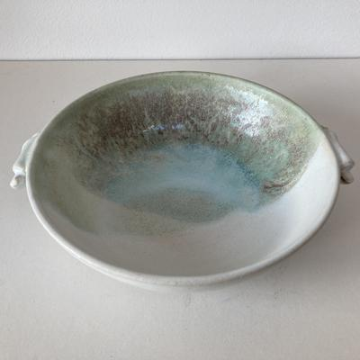 stoneware bowl with scroll handles