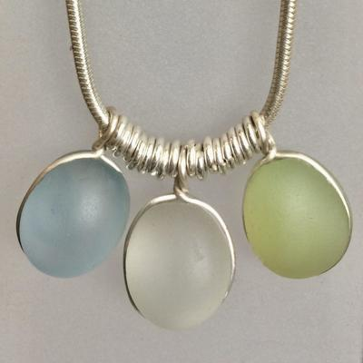 Silver and Seaglass necklace Blue,green,white