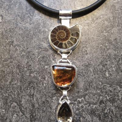 Tony Thomson Pendant Necklace: ammonite, amber with insects & smoky quartz on necklet + clasp