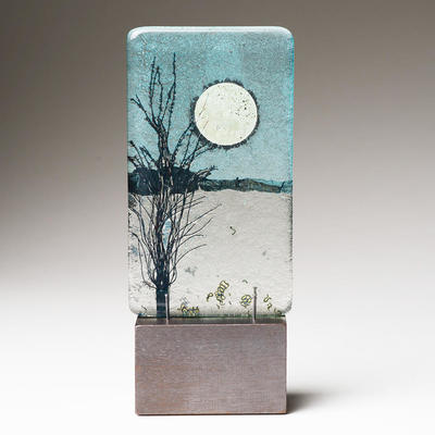 Moonlit sky miniature landscape glass 7 x 12.5 cm
