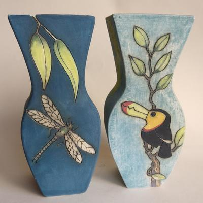 Hand made vases with dragonfly and toucan