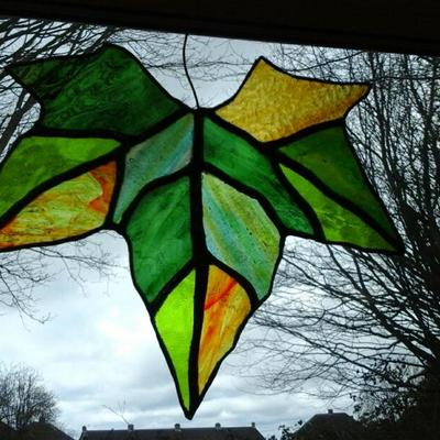Textured glass used to make a colourful hanging leaf