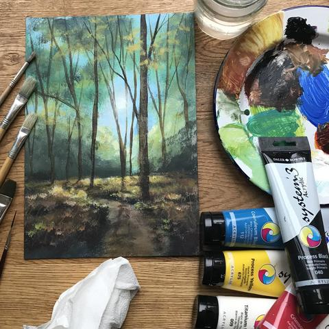 One of my Zoom lessons. Acrylic woodland scene