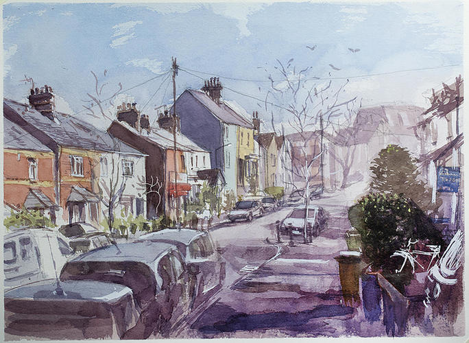 Our Street Watercolour Painting Oxford