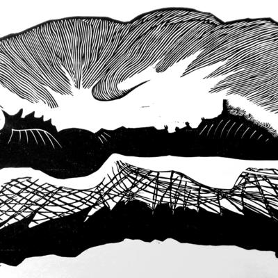 'Coexistence' linocut abstract landscapes