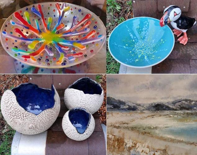 coralglass bowl;puffin & turquoise bowl; 3 blue coiled bowls; Scottish Seascape