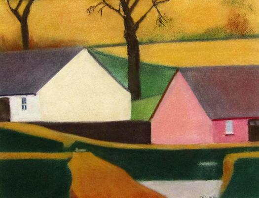 Two Exmoor cottages. Clear colours.  Simple forms.