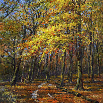 "Autumn Colour, Badbury Clump (detail), oil, 12""x8"""