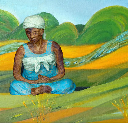 Summer on Portmeadow, oil on canvas with South African figure in clay