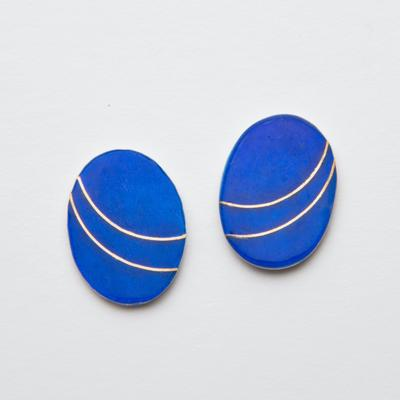 Earrings: enamel and 22ct gold on silver