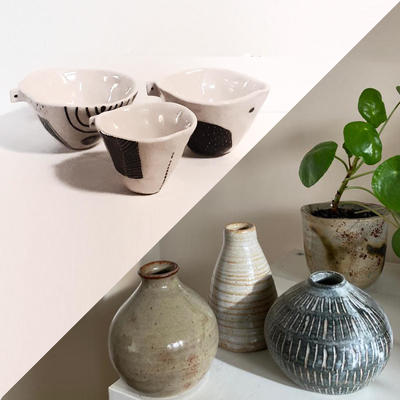 Earthy handmade ceramics, whimsical illustrations, handwoven fabrics and natural dyed yarns.