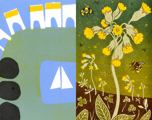 Linoprints and monoprints by Susan Wheeler and Lizzie Wheeler