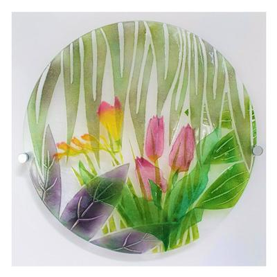 Tulips and Freesias powder techniques on glass
