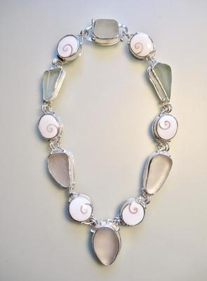 Tony Thomson Necklace: Operculums & Sea Glass set in silver with clasp