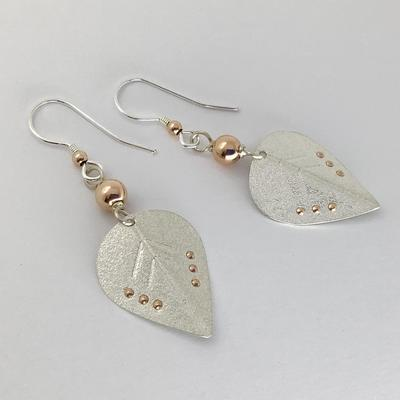 Silver and 9ct rose gold earrings