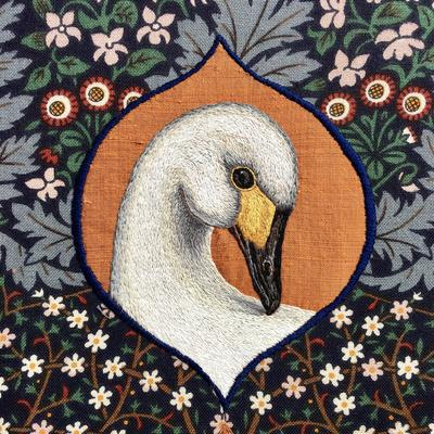 Bewick's Swan - hand embroidery