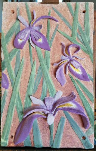 Ceramic plaque with purple Irises