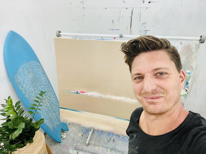 Artist Barry Kelly in his studio in South Stoke, Oxfordshire.