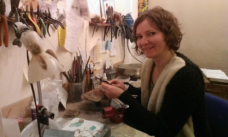 Becky Morgans at her work bench