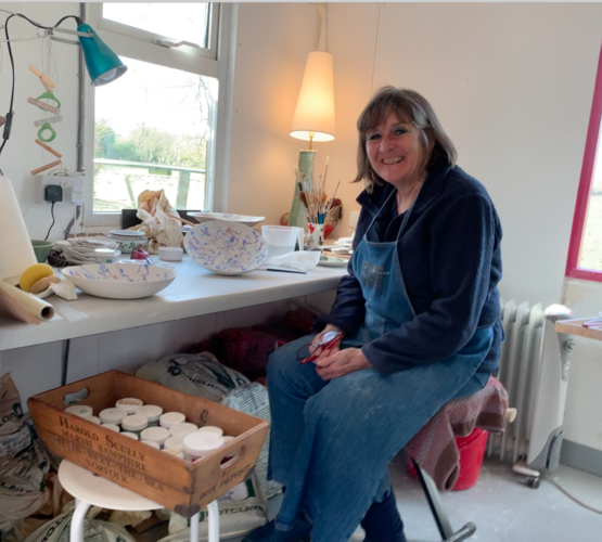 Clare at work in her studio March 2021