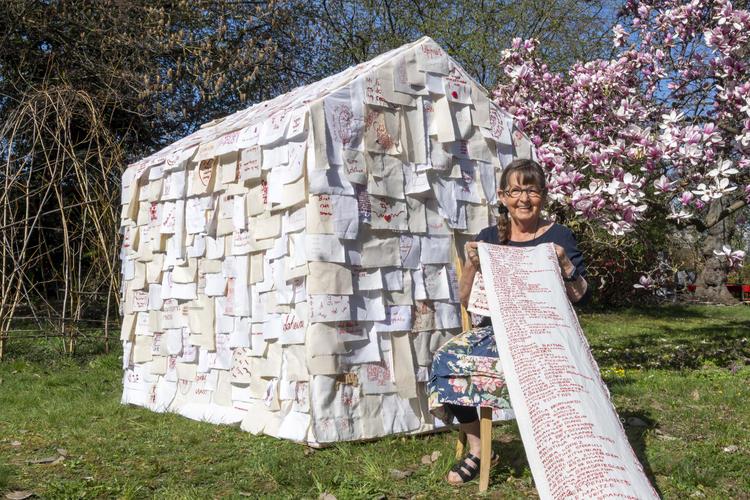 Kathrin Stalder with her Community Art stitched project 'Heimat'