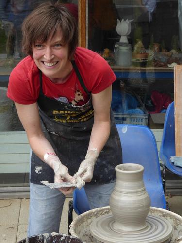 Helen demonstrating throwing on the wheel