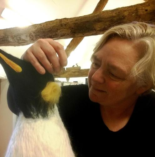 Jane Abbott creating a life size needle felted sculpture.