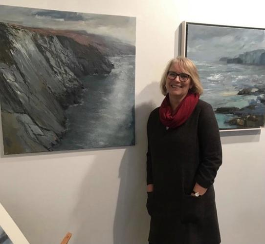 Jane at her solo exhibition 'Wildsong ' at the Northwall gallery, Oxford Jan 2020