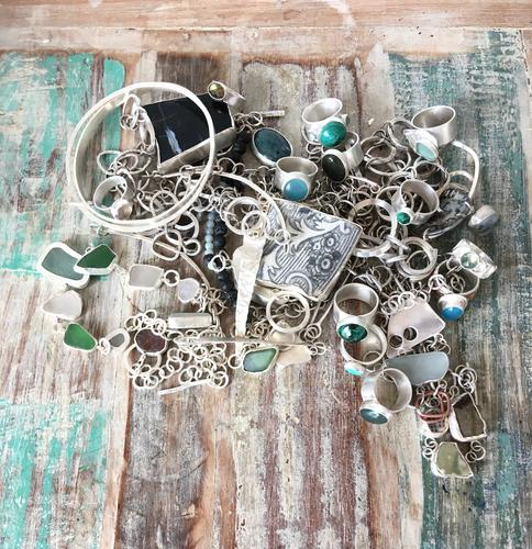 Image of work without artist! Treasure trove of sterling silver jewellery with sea-glass, semi-precious stones and found objects