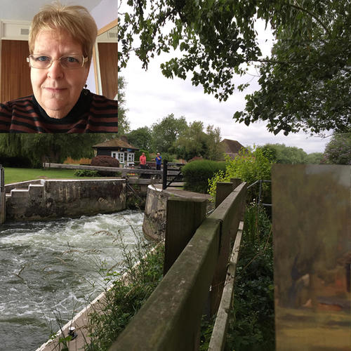 On location painting at Buscot Lock