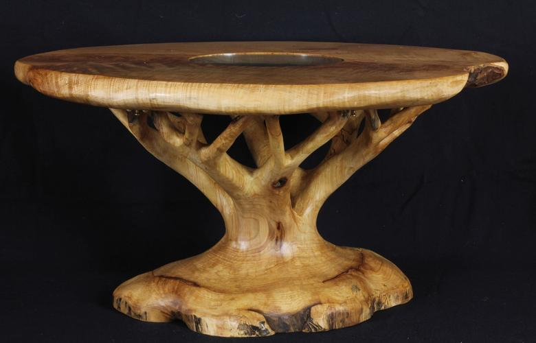 Tree-table, hand-carved from a sycamore log with a separate sycamore top.