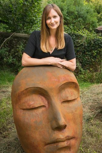 Laura Jane Wylder with Serenity Face Sculpture
