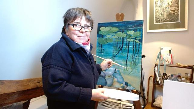 Lizzie Coulter at work in her studio