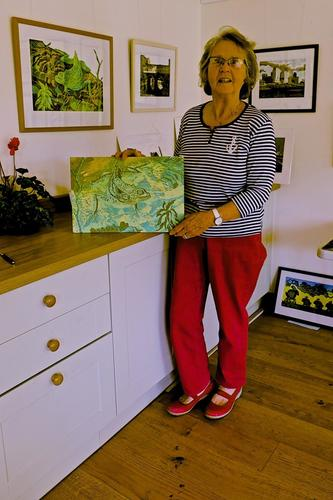 Margot shows some of her woodcut prints in her studio