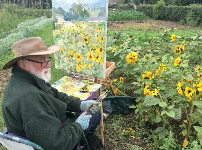 Neville Crowson painting on Cote Allotments 2020
