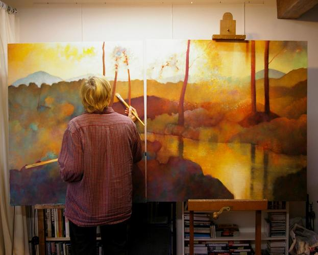 At work on a large triptych