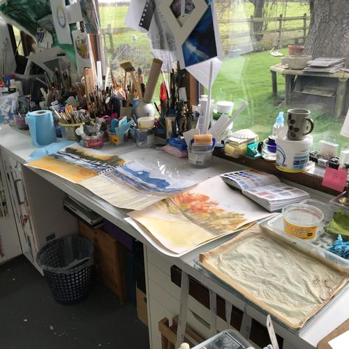 My tools in my studio and artwork ...  plus the mess !
