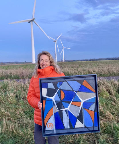 At Westmill Wind Farm with Winds of Change painting.