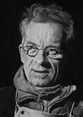 charcoal portrait by kevin Line of Johannes