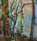 """""""sunlight through the trees""""  mixed media and stitch"""