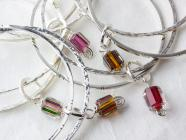 Textured sterling-silver bangle sets with artglass dangles